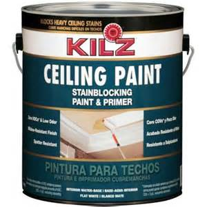 home depot paints interior kilz white flat 1 gal interior stainblocking ceiling paint and primer 68101 the home depot