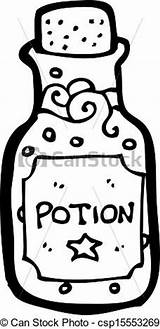 Potion Clip Bottle Magic Cartoon Template Clipart Coloring Outline Wine sketch template