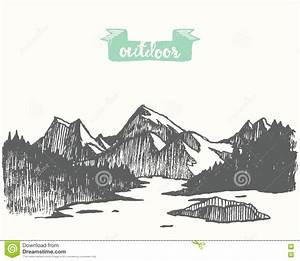 Drawn Mountain Landscape Pine Forest Lake Vector Stock ...