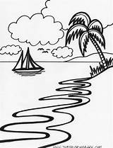 Coloring Pages Island Beach Sunset Drawing Tropical Scene Printable Line Sheets Clip Nature Islands Trees Clipart Drawings Palm Boat Draw sketch template