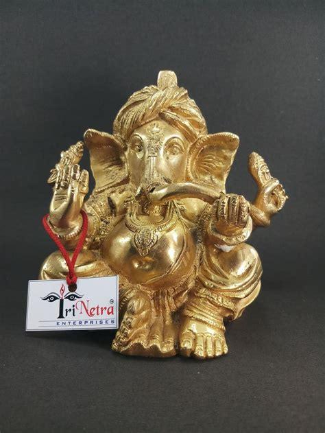 Trinetra Pagdi Ganesh Decorative Showpiece (Brass Gold