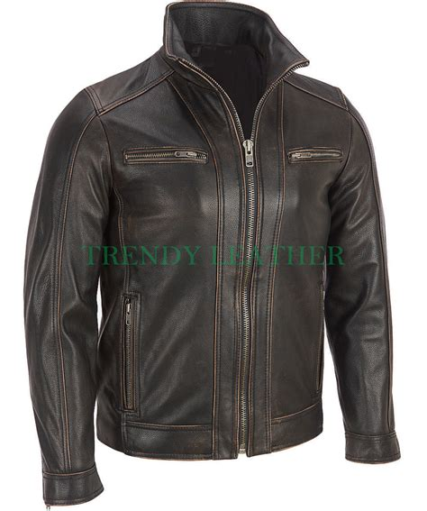 leather apparel men 39 s black rivet distressed leather jacket trendy leather