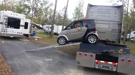 smart car unloading  semi  rv park youtube