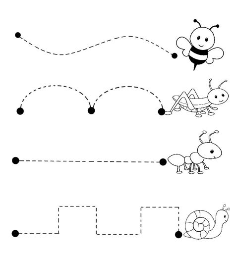 bugs trace line worksheet crafts and worksheets for