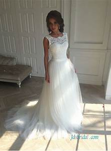 h1228 simple lace bodice tulle bottom a line wedding dress With tulle bottom wedding dress