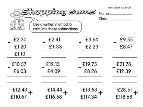 junk shop sums a year 6 addition worksheet