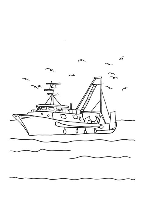 fishing boat  seagulls coloring pages kids play color