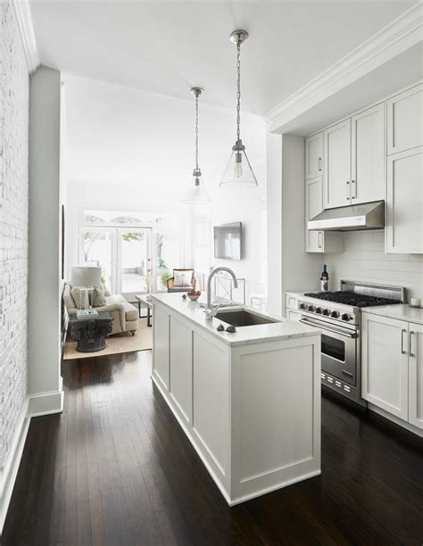 ideas for narrow kitchens narrow console kitchen contemporary with island