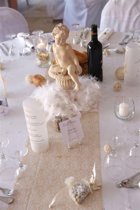une decoration de table sur le theme des anges du