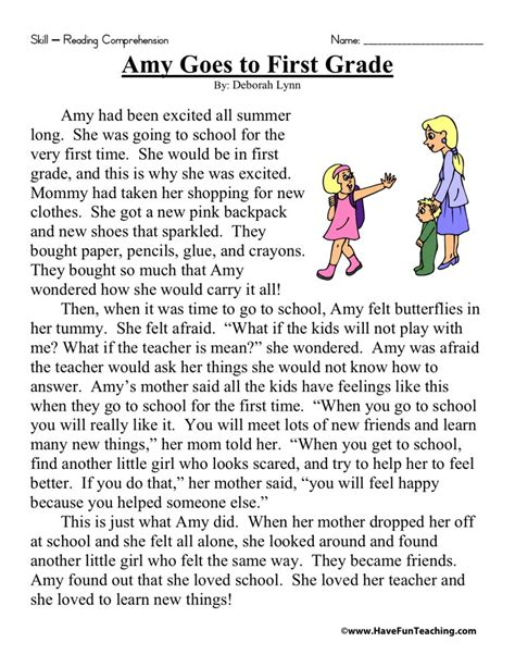free printable reading comprehension worksheets first grade reading comprehension worksheet amy goes to first grade