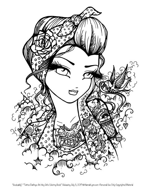 Tattoo Darlings FREE Sample coloring page! Rockabilly Girl