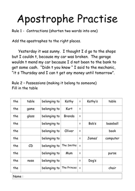 Apostrophes By Njonesford  Teaching Resources Tes