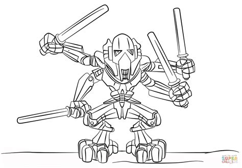 Lego General Grievous Coloring Page Free Printable
