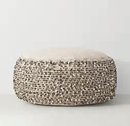 moroccan sequin beige pouf