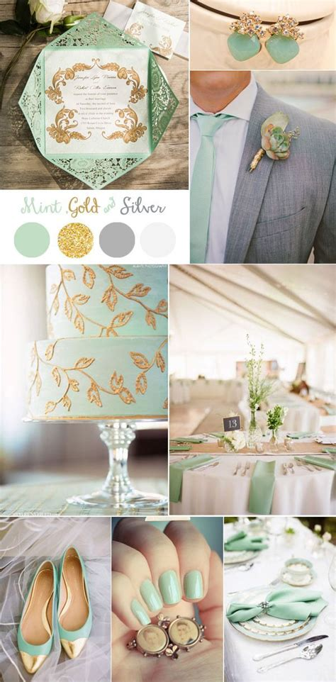 Vintage Mint Gold And Silver Wedding Color Ideas And