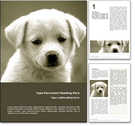 royalty  puppy dog microsoft word template  yellow