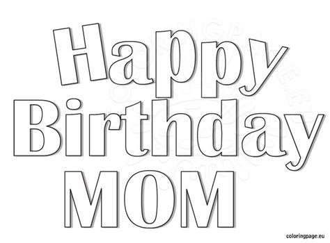 happy birthday mom coloring page coloring page