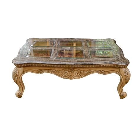 French Provincial Style Faux Marble and Glass Top Coffee Table : EBTH