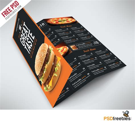 Showcase your designs in these blank mockups that are easy to edit. Fast Food Menu Trifold Brochure Free PSD   PSDFreebies.com