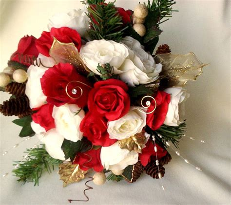 Winter Bridal Bouquet Red Ivory Silk Wedding Flowers By