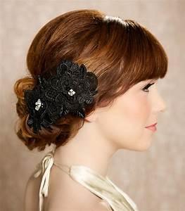 Black Hair Flowers Lace Headpiece Bridal Hair By