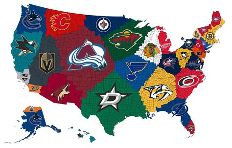 map   closest nhl teams    county mapporn