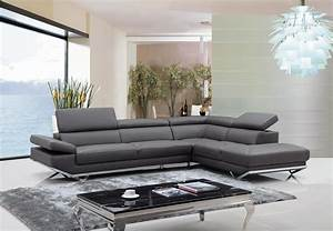 modern living room with dark grey leather sectional sofa With canape cuir metal