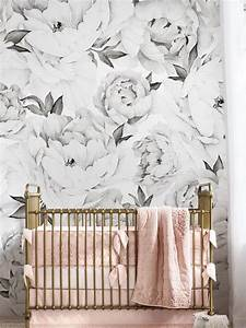 Peony, Flower, Mural, Wallpaper, Black, And, White, Watercolor