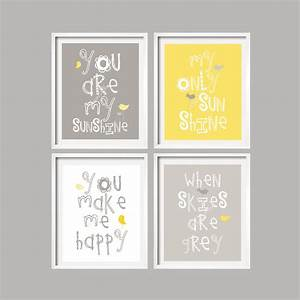 Yellow and gray art prints you are my sunshine nursery wall for You are my sunshine wall art