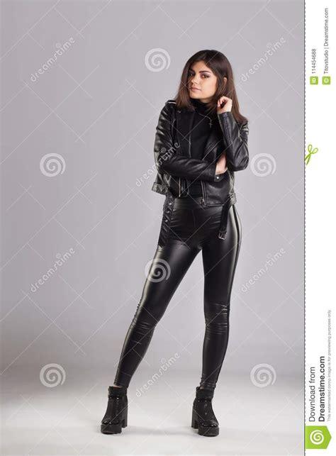 Young Brunette Lady Black Leather Jacket Pants