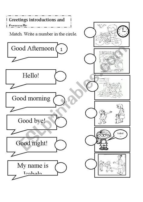 introductions  farewells esl worksheet