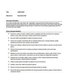 9 cook description template 9 free pdf documents