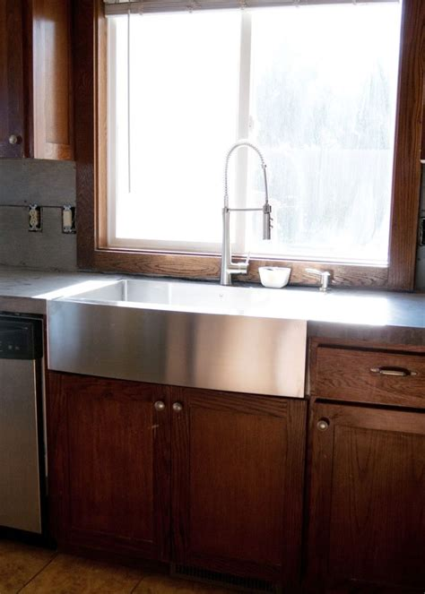 installing farmhouse sink in existing cabinets new stainless steel apron front sink how we installed it
