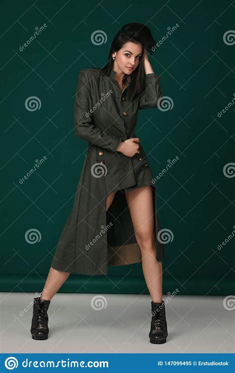 Sexy Brunette Black Lingerie High Heels Stock Photos