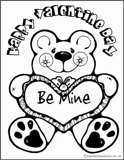Valentine Coloring Bear Pages Valentines Heart Printable