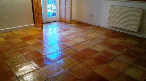 terracotta tiled floor cleaned and sealed in andover