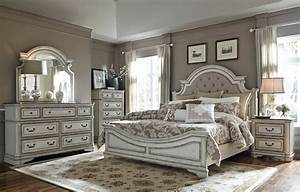 Magnolia Manor Antique White Upholstered Panel Bedroom Set ...