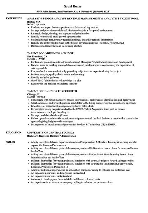 Talent Resume by Talent Pool Resume Sles Velvet