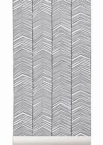 tapete herringbone von ferm living schwarz weiss 18201 With balkon teppich mit ferm living half moon tapete