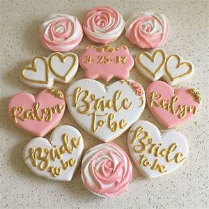 bridal shower cookies in pink white and gold thanks With wedding shower sugar cookies