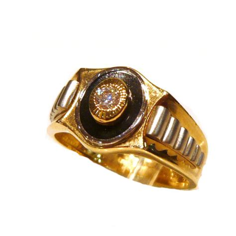 Rolex Design Twolour Ct Gold Onxy And Cz Mens Ring
