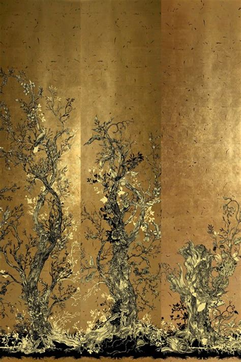 gold leaf design gold leaf golden oriole timorous beasties wallpaper