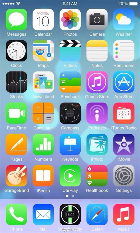 iphone 6 icons screenshot claims to be ios 8 running on an iphone 6 and