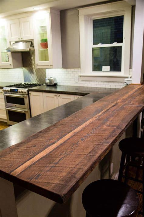 reclaimed wood breakfast bar replacing kitchen