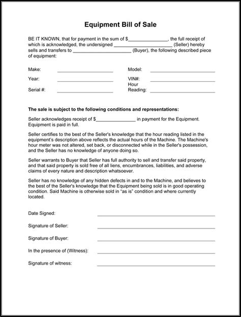 equipment bill  sale form