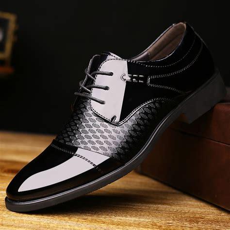 vintage genuine leather men business shoes derby black