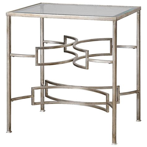 silver leaf end table endora hollywood regency silver leaf glass end table