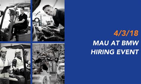 Mau Has New Jobs At Bmw- Attend The 4-3-18 Hiring Event