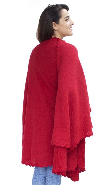 womens alpaca wool crochet border knitted ruana poncho