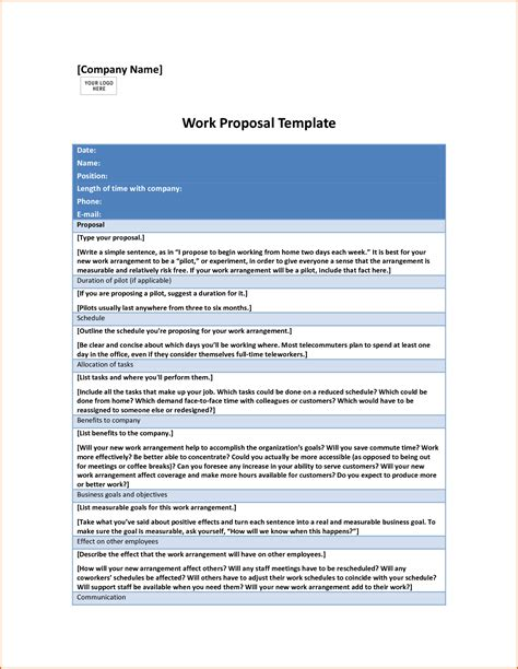 work proposal template authorizationlettersorg